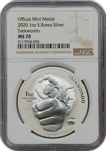 2020 OFFICIAL MINT MEDAL 1OZ S.KOREA SILVER TAEKWONDO NGC MS 70 FINEST KNOWN!