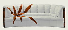 "92"" W Sofa brown design white soft Italian leather exotic hard wood steel frame"