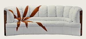 "92"" W Sofa brown design white soft Italian leather exotic hard wood steel frame"