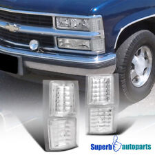1994-1998 Chevy C10 4PC Clear Corner Lights Chrome Signal Lamps Silverado Tahoe
