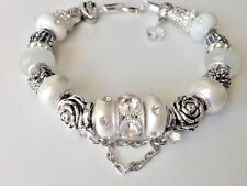 "European Style Silver Plated Charm Bracelet with Murano Beads,8.5"",Lobster Clasp"