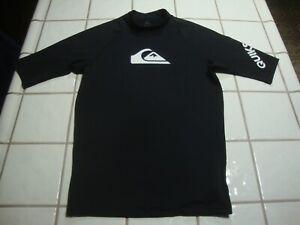 QUIKSILVER SWIM SHIRT UPF 50+ UV Pro Rash Guard BLACK Short Sleeve Womens Medium
