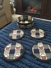 Longaberger Basket Coaster Holder & 4 Coasters
