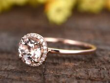 1Ct Round Cut Pink Morganite Synt Diamond Engagement Ring Rose Gold Finsh Silver