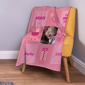 Personalised Baby Girl Pink Photo Design Soft Fleece Throw Blanket New Born Gift