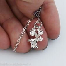 Silver New Hunting Canada Whimsical Hunt 3D Moose Charm Necklace - 925 Sterling