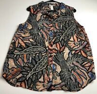 H&M Women Sleeveless Blouse Top 14 Floral Peacock Bold Mix Print Sheer High Low