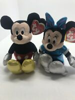 "Mickey Mouse & Minnie Mouse Sparkle Ty Plush stuffed animal 8"" figure NIP"