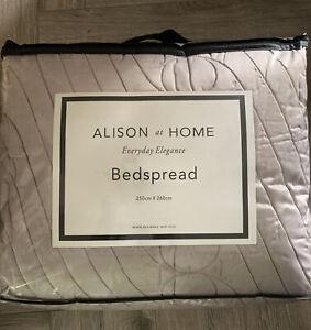 Allison at Home Elegant Quilted Satin Bedspread 250 X 260cm, Beige
