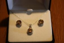 Citrine and diamond accent Earrings and Matching Pendant