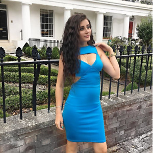Blue Fitted Stretch Bodycon Dress in Small Medium Large