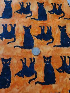 Batik Orange Black Animal Print Cotton Fabric Remnant 1yd X 44