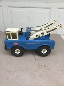 Vintage Blue Tonka Mighty AA Wrecker 24 HR Service Tow Truck Pressed Steel Toy