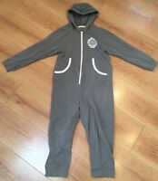 Boys Hooded All In Pyjama Sleep Suit All In One Grey Age 9-10 yrs