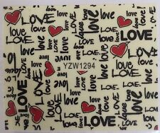 Full Wrap Colorful LOVE Nail Art Water Transfer Decal Stickers YZW1294