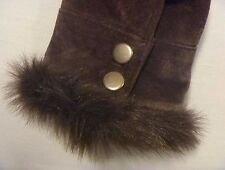 Women's Coldwater Creek Brown Leather Jacket Suede Faux Fur Trim size S