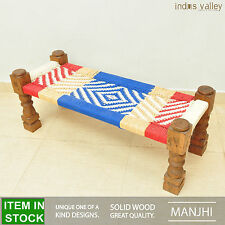 Manjhi woven Indian daybed day bed bench charpai charpoy manjha 120x45cm Cotton