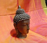 Bouddha Tête en bronze 3,7 kilos Buddha Travaillé à la main en Inde Tibet Népal