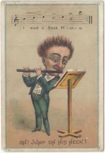 Humorous Flute Player Steck Pianos Victorian Music Store New York Trade Card