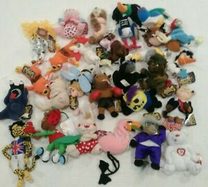 Vintage Meanies Beanies Plush Toy Mixed Lot of 27 Series 1 2 Famous With Tags