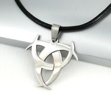 Silver Chrome Poison Symbol Biohazard Pendant Black Leather Cord Choker Necklace