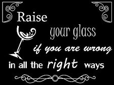 Pink Song Lyrics, Quote, Raise Your Glass, Vinyl wall art sticker, Decal.