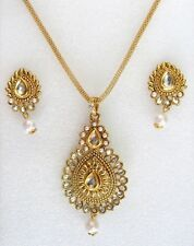Trendy Indian Bollywood Kundan Jewelry Pearls Gold Pendant Necklace Earrings Set