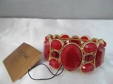 NWT MONET  GOLD & LARGE DARK RED STONES STATEMENT BRACELET, Detailed Signed