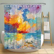 Abstract Colorful Blue Orange Art Sunrise Water Farmhouse Fabric Shower Curtain