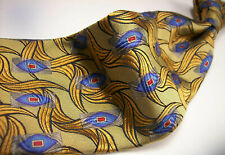 ROBERT TALBOTT  Nordstrom Gold Metallic ABSTRACT  Mens 100  SILK Necktie  9 817