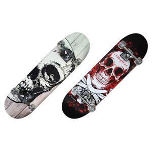 Skateboard con teschio e tavola in acero, 79x20 cm, 3+