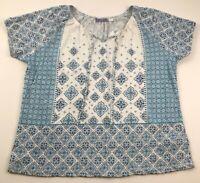 New Laura Scott Women's Short Sleeve Blouse Top 2X Plus Blue White Floral Boho
