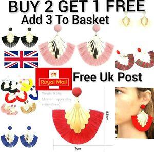 Long Drop Tassel Statement Earrings Black Pink Red Blue Women Gold Boho Tassle