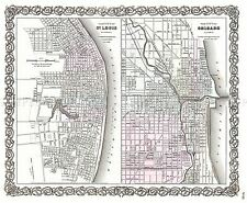 MAP ANTIQUE 1855 COLTON ST LOUIS CHICAGO CITY PLANS REPLICA POSTER PRINT PAM1749