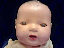 Antique Composition Doll Head with Sleepy Eyes Open Mouth and Dress