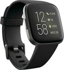 NEW SEALED Fitbit Versa 2 Smartwatch Black Carbon Aluminum 2 bands FREE SHIPPING