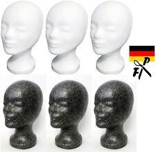 6 x FP Styroporkopf  Perückenkopf schwarz + weiss  - Deutsche Markenqualität!