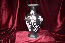 Blythe 19th Century black vase with Hand painted Blossom