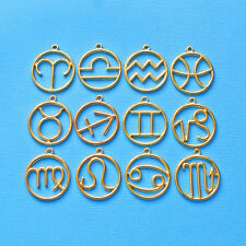 Zodiac Charm Collection Gold Plated 12 Different Charms Large Size - COL046