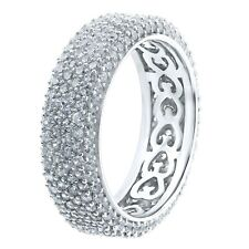 Women's Pavé CZ Eternity Band Ring Stackable Real Sterling .925 Silver/Gold 5-10