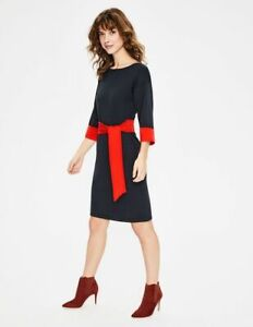 BODEN Esmeralda Knitted BELTED Dress NAVY K0224 SIZE UK 8 BRAND NEW SAMPLE