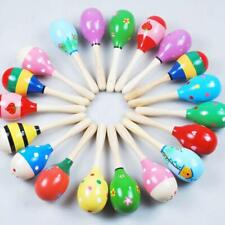More details for 10pc wooden maracas rattle shaker musical sand hammer toys baby gift party favor