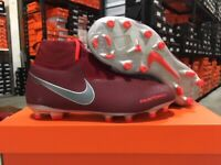 Nike Junior Phantom Vision Elite DF FG Cleats (Team Red/Grey) Size: 4-6 Y NEW!