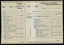 1928 Washington Township,Schuylkill County,PA Unused Two Part Tax Bill