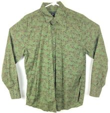 Banana Republic Mens Medium M Green Floral Long Sleeve Button Dress Shirt Collar