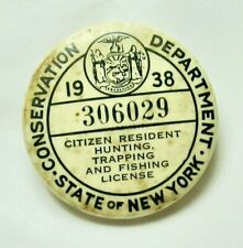 1938 New York State Hunting, Trapping and Fishing License Button