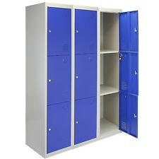 3 x Metal Lockers 3 Doors Flatpack Staff Storage Lockable School Blue - 45cm D