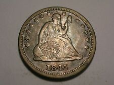 1845/45 Seated Liberty Quarter (XF+, Overdate, & Attractive)