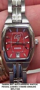 Tampa Bay Buccaneers Fossil Watch Womens Ladies Three Hand date Cushion NFL1183