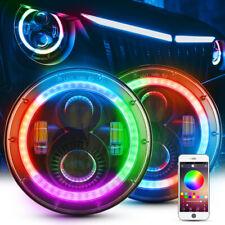 "MICTUNING 2pcs 7"" 80w RGB LED Headlights Round DRL for Jeep Wrangler JK LJ TJ"